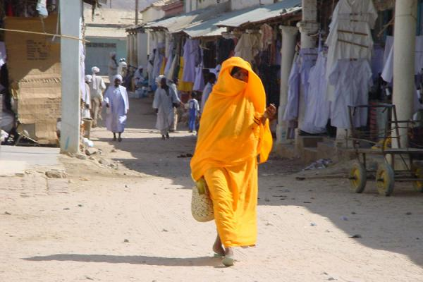 Picture of Yellow and white: dresses on the market of KerenEritrea - Eritrea