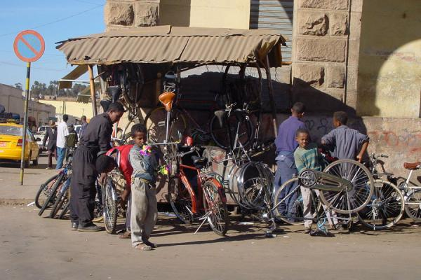 Open-air bicycle shop at the market in Asmara | Eritrean Markets | Eritrea
