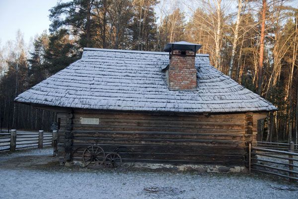 Picture of Estonian Open Air Museum (Estonia): Frost-covered roof of Sepa farm
