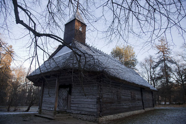 Picture of Estonian Open Air Museum (Estonia): The wooden Sutlepa chapel covered in a thin layer of frost