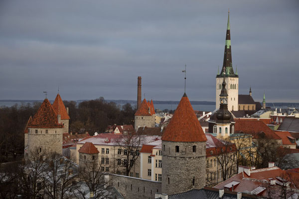 Foto van View of the Lower Town from the Upper Town with watchtowers and the church tower of St. Olaf's ChurchTallinn - Estland
