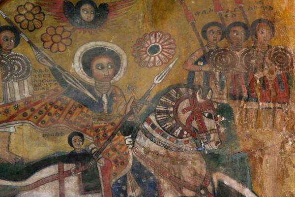 Holy horseman on mural inside Abreha and Atsbeha | Abreha wa Atsbeha church | Ethiopia
