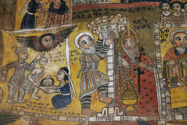 Detail of the history of the Ethiopian church depicted on mural in Abreha and Atsbeha | Abreha wa Atsbeha church | Ethiopia