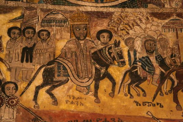 Picture of Emperor Yohannes and others depicted on mural in Abreha and Atsbeha church