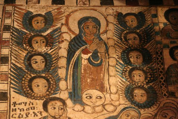 Virgin Mary and angels on mural in Abreha and Atsbeha church | Abreha wa Atsbeha church | Ethiopia