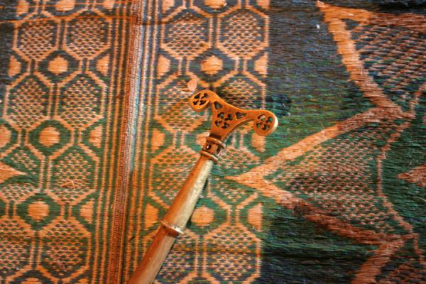 Picture of Abreha wa Atsbeha church (Ethiopia): Stick of a priest lying on the floor of Abreha and Atsbeha church