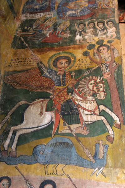 Picture of Abreha wa Atsbeha church (Ethiopia): St George killling the dragon depicted on mural in Abreha and Atsbeha church