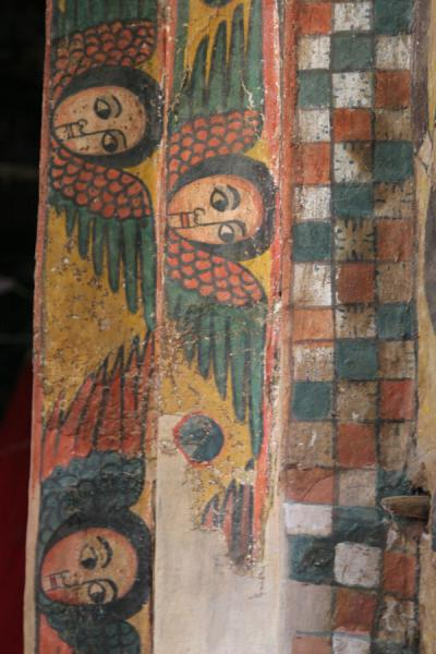Picture of Abreha wa Atsbeha church (Ethiopia): Winged, cherubic faces on doorframe in Abreha and Atsbeha church