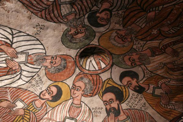 Picture of Abuna Yemata Guh church (Ethiopia): Nine apostles on fresco in cupola of Abuna Yemata Guh church