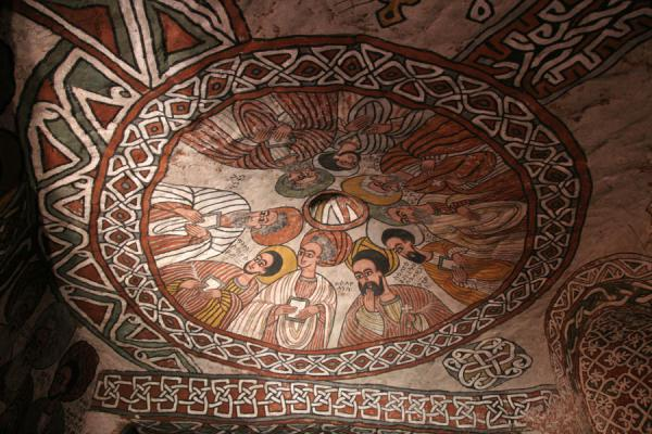 Picture of Abuna Yemata Guh church (Ethiopia): Nine apostles on a fresco inside Abuna Yemata Guh church