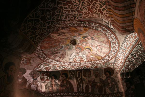 Picture of Abuna Yemata Guh church (Ethiopia): Twelve apostles on fresco inside Abuna Yemata Guh: 9 on the ceiling, 3 on the wall