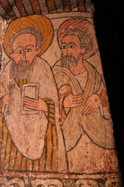 Picture of Abuna Yemata Guh church (Ethiopia): Religious figures depicted on mural inside Abuna Yemata Guh church
