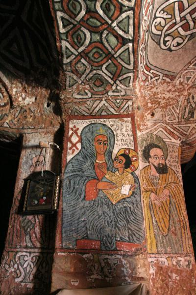 Picture of Abuna Yemata Guh church (Ethiopia): Abuna Yemata Guh: Virgin Mary with Jesus on mural inside Abuna Yemata Guh church