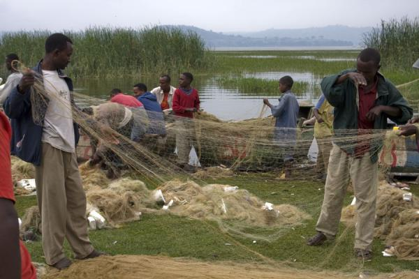 Foto van Ethiopian fishermen reordering their nets at the fishmarket of AwassaAwassa - Ethiopië