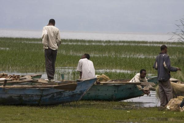 Ethiopian fishermen on their boats near the shore of Lake Awassa - 益索比亚