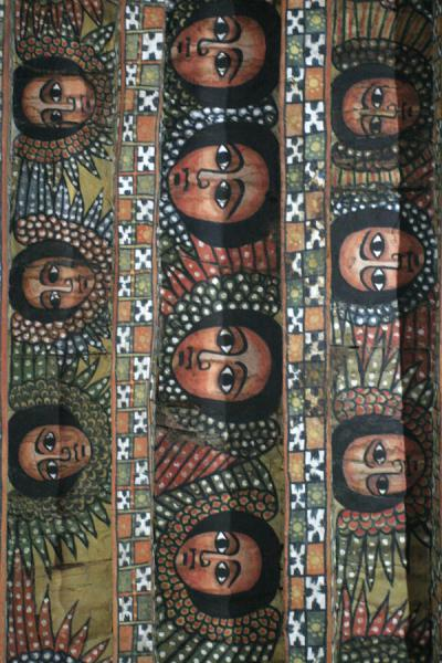 Some rows of faces in the ceiling of Debre Birhan Selassie | Debre Birhan Selassie Church | Ethiopia
