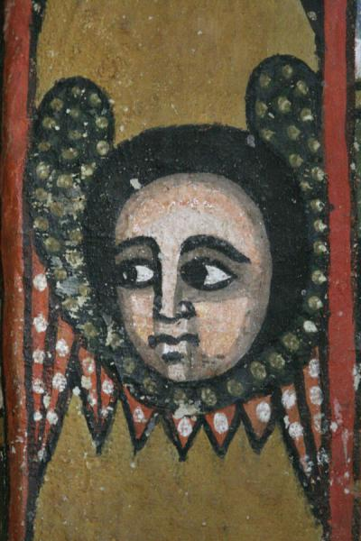 Close-up of cherubic face on a wall of Debre Birhan Selassie | Debre Birhan Selassie Church | Ethiopia