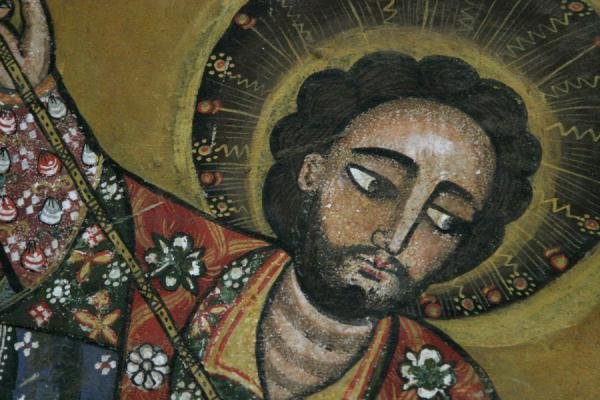 Foto de Detail of religious figure on the wall of Debre Birhan Selassie church - Etiopia - Africa