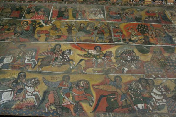 Religious scenes on the walls of Debre Birhan Selassie church | Debre Birhan Selassie Kerk | Ethiopië