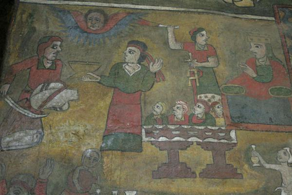 Biblical scene depicted in colourful fresco on wall of Debre Birhan Selassie | Debre Birhan Selassie Kerk | Ethiopië