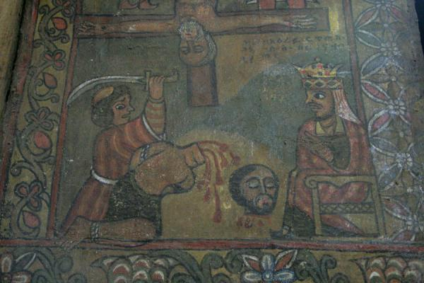 Foto van Cruel scene in fresco on the wall of Debre Birhan SelassieGonder - Ethiopië