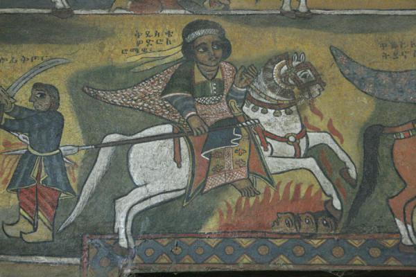 Detail of fresco on the wall of Debre Birhan Selassie | Debre Birhan Selassie Kerk | Ethiopië