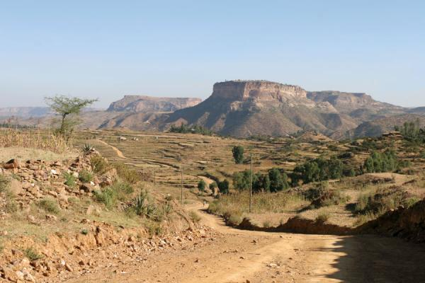 Picture of Debre Damo, lying on a flat-topped hill, can be seen from a distance
