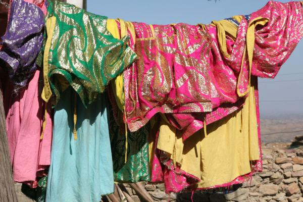 Priest robes hanging on a line at Debre Damo monastery | Debre Damo Monastery | Ethiopia