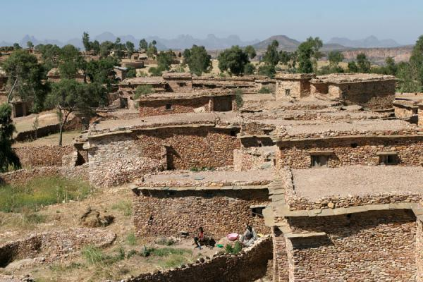 Village on top of flat-topped hill of Debre Damo monastery | Debre Damo Monastery | Ethiopia