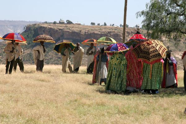 Picture of Debre Damo Monastery (Ethiopia): Finally reached the top: funerary service for woman at Debre Damo