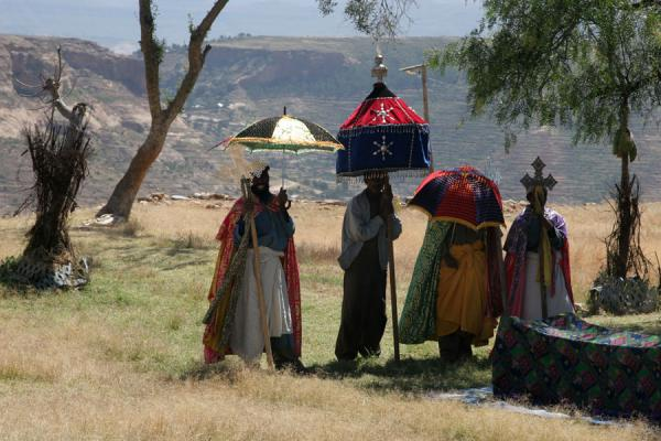 Funerary service for woman on top of Debre Damo monastery | Debre Damo Monastery | Ethiopia