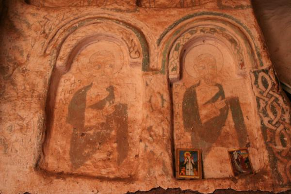 Picture of Debre Tsion church (Ethiopia): Saints depicted in frescoes inside Debre Tsion church
