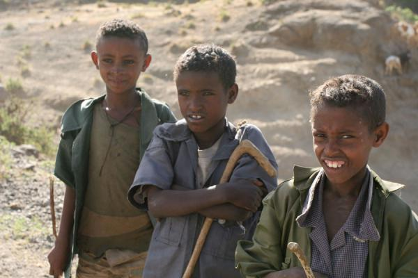 Picture of Ethiopian kids (Ethiopia): Ethiopian shepherds in the area around Lalibela
