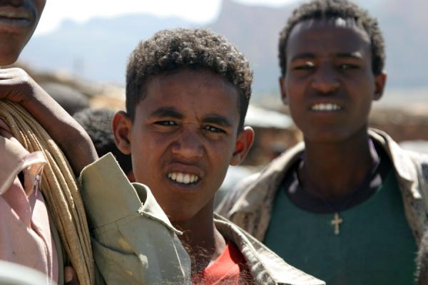 Picture of Ethiopian kids (Ethiopia): Ethiopian boys looking into the lens on the market of Megab