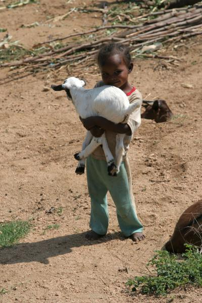 Picture of Ethiopian kids (Ethiopia): Ethiopian girl with goat