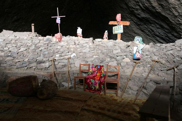Picture of Genata Maryam Medhane Alem (Ethiopia): Crosses at the entrance inside the cave of Mekina Medhane Alem church