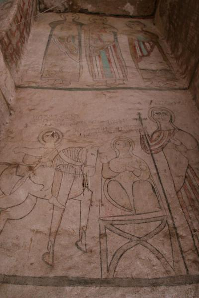 Picture of Genata Maryam Medhane Alem (Ethiopia): Religious figures depicted on wall of Genata Maryam church