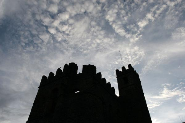 One of the castles in the royal enclosure at dusk | Fasil Ghebbi | Ethiopia