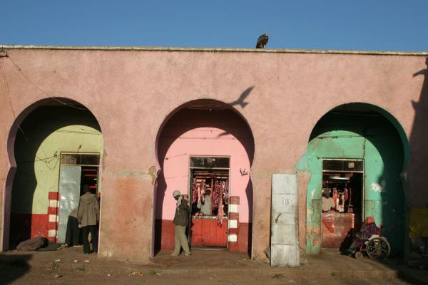 Picture of Butchers at the meat market in Harar