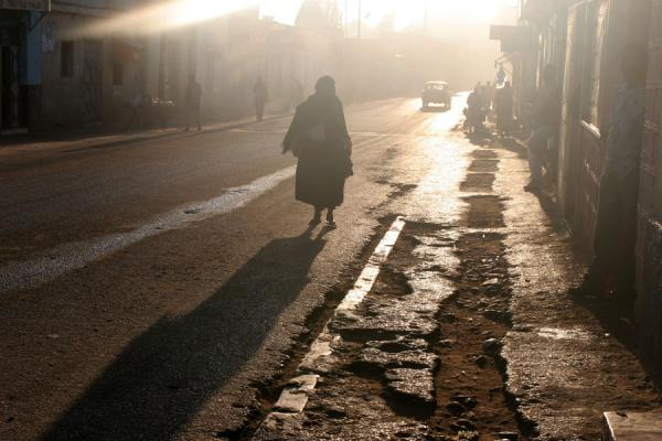 Picture of Harar Street Scenes (Ethiopia): Main street of Harar with long shadows of the morning sun