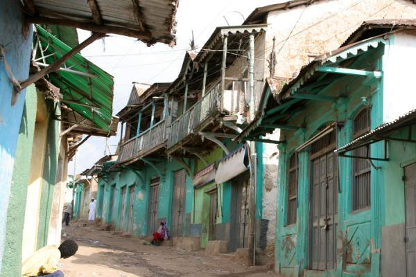 Picture of Main street of Jugal, old town of Harar, with green coloured houses