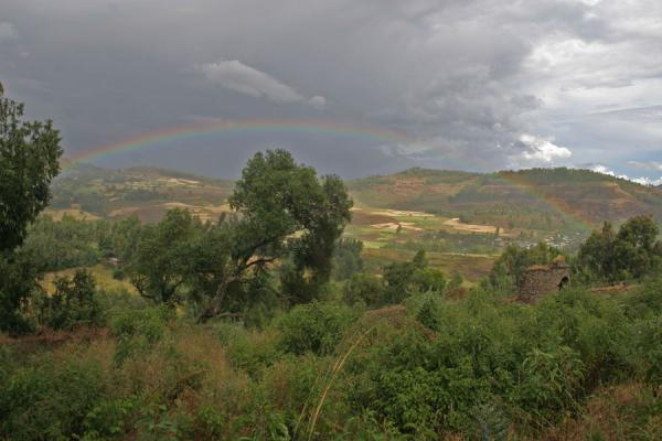 Rainbow in the valley behind Kuskuam palace | Kuskuam | Ethiopia