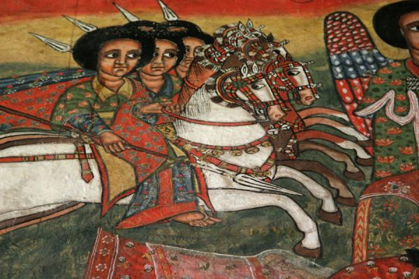 Group of horsemen depicted in religious scene in Ura Kidane Mihret church | Lake Tana monasteries | Ethiopia