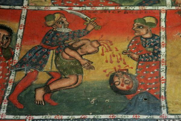 Brutal beheading scene on mural in Ura Kidane Mihret church | Lake Tana monasteries | Ethiopia
