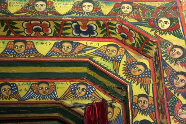 Picture of Lake Tana monasteries (Ethiopia): Colorful doorframe with cherubic faces and wings in Ura Kidane Mihret church
