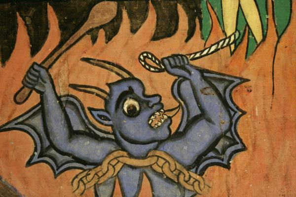 The devil is also present on the murals in Ura Kidane Mihret | Lake Tana monasteries | Ethiopia