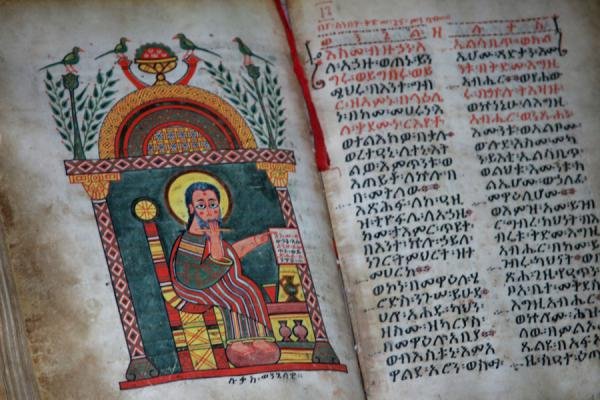 Picture of Lake Tana monasteries (Ethiopia): Ancient goatskin bible in Kibran Gebriel church