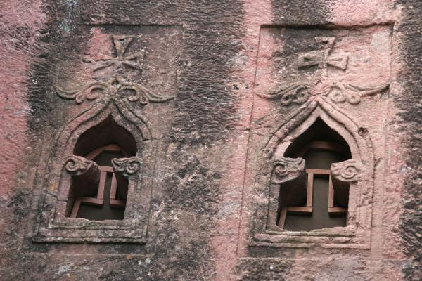 Finely carved windows of Bet Mikael church | Lalibela Northern Cluster | Ethiopia