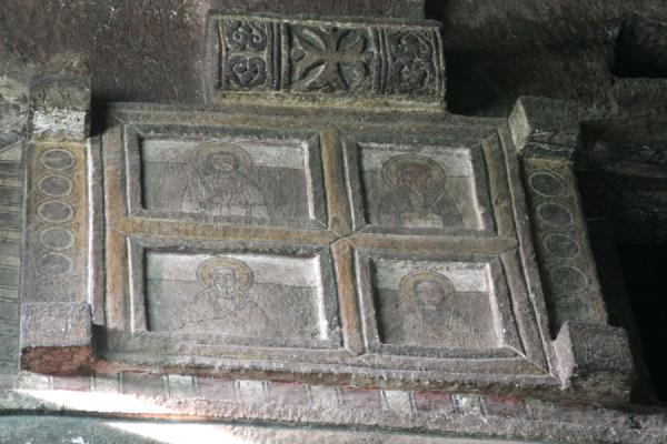 Picture of Lalibela Northern Cluster (Ethiopia): Carved out false window with decorations in Bet Maryam