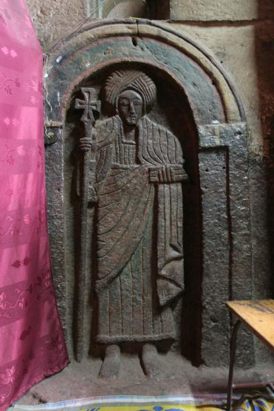 Picture of Lalibela Northern Cluster (Ethiopia): Saint carved into the wall of Bet Golgotha
